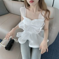 Lace / Chiffon Summer 2021 white S, M commute Socket singleton  Self cultivation have cash less than that is registered in the accounts square neck Solid color 18-24 years old Korean version