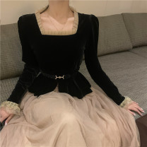 Fashion suit Spring 2021 S,M,L Black coat with belt, apricot mesh skirt 18-25 years old