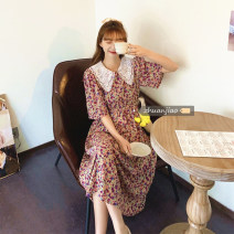 Dress Summer 2021 Purple, red Average size longuette singleton  Short sleeve commute Crew neck Elastic waist Decor Socket A-line skirt other Others 18-24 years old Type A Other / other Korean version 71% (inclusive) - 80% (inclusive) polyester fiber