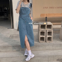 Dress Summer 2021 Blue, black S,M,L Mid length dress singleton  Sleeveless commute square neck High waist Solid color Socket A-line skirt other straps 18-24 years old Type A Other / other Korean version pocket 71% (inclusive) - 80% (inclusive) other polyester fiber