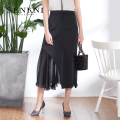 skirt Summer of 2018 S M L XL XXL Mid length dress commute High waist Solid color 30-34 years old More than 95% Senkni / San CONI polyester fiber Lotus leaf edge Ol style Polyester 100%