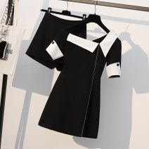 Women's large Summer 2021 black M suggests 80-100kg, l 100-120kg, XL 122-145kg, 2XL 148-168kg, 3XL 170-200kg Dress Two piece set commute easy thin Socket Short sleeve Solid color Korean version One word collar Medium length Polyester, cotton, others Three dimensional cutting routine Diamond inlay