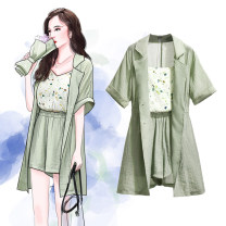 Women's large Spring 2021, summer 2021 green Size M suggests 90-105 kg, size L 105-125 kg, size XL 125-150 kg, size XXL 150-170 kg, size 3XL 170-195 kg Other oversize styles Three piece set commute easy moderate Cardigan Short sleeve Korean version routine Polyester, cotton Three dimensional cutting