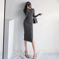 Dress Spring 2021 Grey, black, khaki S, M longuette singleton  Long sleeves street Crew neck High waist Solid color Socket One pace skirt routine knitting Europe and America