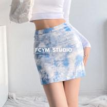 skirt Summer 2021 S,M,L Black and white, blue and white Short skirt street High waist skirt Type A hippie
