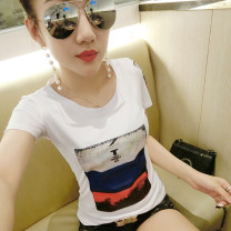 T-shirt White, black S,M,L,XL,2XL Spring of 2019 Short sleeve Crew neck Self cultivation Regular routine commute cotton 86% (inclusive) -95% (inclusive) 18-24 years old Korean version youth letter Other / other