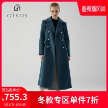 woolen coat Winter of 2018 S M L Malachite blue wool 91% (including) - 95% (excluding) 5B41Y3011 OIKOS Wool 93.7% rabbit hair 6.3%