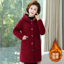 Middle aged and old women's wear Winter 2020 fashion Cotton easy singleton  Solid color 40-49 years old Cardigan thin Hood Medium length routine pocket polyester 96% and above Single breasted
