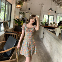 Dress Summer 2021 Decor S,M,L,XL Middle-skirt singleton  Short sleeve Sweet square neck High waist Broken flowers Socket A-line skirt puff sleeve 25-29 years old Type A 31% (inclusive) - 50% (inclusive) other polyester fiber
