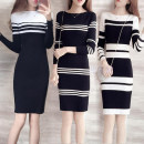 Dress Winter 2020 Black and white stripe A, black and white stripe B, black and white stripe C, black apricot stripe, blue apricot stripe S [below 95 Jin], m [90-105 Jin], l [100-120 Jin], XL [115-135 Jin], XXL [130-155 Jin] Mid length dress singleton  Long sleeves commute One word collar stripe