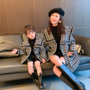 Parent child fashion black Women's dress 110cm, 100cm, mom L, mom m, mom s, 140cm, 130cm, 120cm Spring and autumn, winter other thickening other loose coat Wool Class B 11 years old