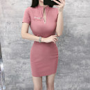 Dress Summer 2021 Pink S,M,L Short skirt singleton  Short sleeve commute V-neck High waist Solid color zipper One pace skirt routine Others 25-29 years old Type X Zipper, lace up, fold 31% (inclusive) - 50% (inclusive) brocade polyester fiber