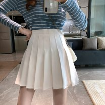 skirt Summer 2021 XS,S,M,L Gray, white, black Short skirt commute High waist A-line skirt Solid color Type A 18-24 years old 31% (inclusive) - 50% (inclusive) other other fold