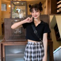 T-shirt Black top, plaid pants, pleated skirt S,M,L Summer 2021 Short sleeve V-neck Self cultivation have cash less than that is registered in the accounts routine commute other 31% (inclusive) - 50% (inclusive) 18-24 years old Korean version youth