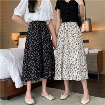 skirt Summer 2021 Average size White, black Mid length dress commute High waist A-line skirt Decor Type A 18-24 years old 31% (inclusive) - 50% (inclusive) other other Korean version