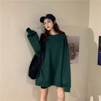 T-shirt Dark green, atmospheric black, natural white, foreign gray, plum pink Average size Spring 2020 Long sleeves Crew neck easy Medium length routine commute cotton 96% and above 18-24 years old Korean version Solid color Other / other