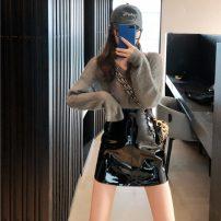 Fashion suit Winter 2020 S. M, l, average size Grey sweater, yellow sweater, black sweater, pink sweater, black leather skirt, pink leather skirt, yellow leather skirt, blue leather skirt 18-25 years old