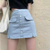 skirt Summer 2021 S,M,L White, off white, blue, black Middle-skirt commute High waist A-line skirt Solid color Type A 18-24 years old 31% (inclusive) - 50% (inclusive) other Button Korean version