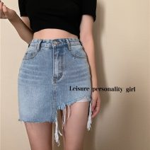 skirt Summer 2021 S,M,L blue Short skirt commute High waist A-line skirt Solid color Type A 18-24 years old 31% (inclusive) - 50% (inclusive) Korean version