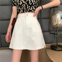 skirt Summer 2021 S,M,L,XL White, black Short skirt commute High waist A-line skirt Solid color Type A 18-24 years old 31% (inclusive) - 50% (inclusive) Denim other pocket Korean version