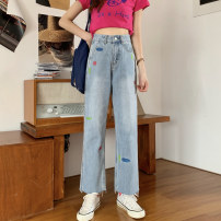 Jeans Summer 2021 blue S,M,L trousers High waist Wide legged trousers routine 18-24 years old Make old other Dark color 31% (inclusive) - 50% (inclusive)