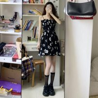 Dress Summer 2021 White with long sleeves and suspender skirt Average size Short skirt singleton  Sleeveless commute One word collar High waist Decor Socket A-line skirt routine camisole 18-24 years old Type A Korean version 31% (inclusive) - 50% (inclusive) other