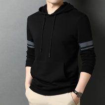 Sweater Youth fashion Others Black, blue, red, gray 170/105/M,175/110/L,180/115/XL,185/120/XXL,190/125/XXXL Solid color Socket routine Hood Slim fit leisure time youth tide routine Fleece  printing No iron treatment Kangaroo pocket