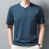 T-shirt Fashion City Other thin Short sleeve Lapel standard Other leisure SHQE21108 middle age routine Business Casual Cotton wool cloth Solid color cotton other Non iron treatment International brands 170,175,180,185,190 Black, white, medium blue, medium grey, dark grey, pink