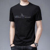T-shirt Fashion City Black, white, gray, blue, green, pink thin 165,170,175,180,185,190 Others Short sleeve Crew neck easy business affairs summer routine Business Casual Cotton wool 2021 Alphanumeric printing cotton The thought of writing No iron treatment Domestic famous brands More than 95%