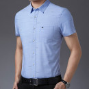 shirt Business gentleman Others 165,170,175,180,185,190 Green, blue, pink routine Pointed collar (regular) Short sleeve standard Other leisure summer Business Casual 2021 other Color woven fabric No iron treatment cotton Button decoration
