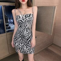 Dress Summer 2020 Zebra pattern S,M,L Short skirt singleton  Sleeveless commute One word collar High waist Socket other routine camisole 18-24 years old Type A Other / other Korean version