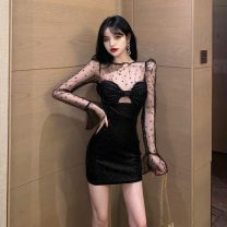 Dress Summer 2020 black S,M,L Short skirt singleton  Long sleeves commute other High waist Dot other A-line skirt pagoda sleeve Others Type A Other / other Korean version Splicing organza  other