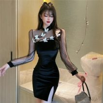 Dress Spring 2021 black S,M,L Short skirt singleton  Long sleeves commute stand collar High waist Solid color zipper One pace skirt routine 25-29 years old Type H Splicing L1.19