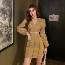 Dress Autumn 2020 Ginger, black S,M,L Middle-skirt Long sleeves V-neck middle-waisted routine 18-24 years old D11.22