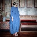 Dress Spring 2020 dark blue Average size Mid length dress singleton  three quarter sleeve commute Crew neck Loose waist Solid color Socket Lantern skirt other Others 35-39 years old literature Stitching, hand stitching 1321-11 More than 95% other hemp