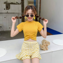 Split swimsuit other Bo 8094 pink, Bo 8094 yellow, Bo 8094 blue S,M,L Skirt split swimsuit With chest pad without steel support other female Crew neck