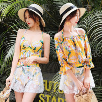 Split swimsuit Denzman Yellow green 5885 [three piece strip holder] , White green 5885 [three piece strip holder] M code [recommendation 85] - [100kg] , L code [suggestion 100] - 115 Jin] , XL [suggestion 115] - 125 kg] Skirt split swimsuit Steel strap breast pad Polyester, others female