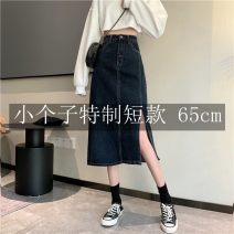 skirt Autumn 2020 XS,S,M,L For dark blue, it is recommended to be more than 158CM for 75cm, 145-157cm for 65cm, 145-157cm for 65cm and 158CM for 75cm Mid length dress commute High waist Denim skirt Solid color Type A 18-24 years old 71% (inclusive) - 80% (inclusive) other Button, zipper, stitching