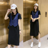 Dress Summer 2020 Black with blue, black with pattern M (recommended 90-110 kg), l (recommended 115-125 kg), XL (recommended 130-140 kg), 2XL (recommended 145-160 kg) Mid length dress Fake two pieces Short sleeve commute Crew neck Loose waist Solid color Socket A-line skirt routine Type A Ou Mingyi