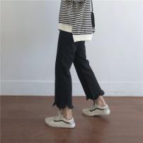 Women's large Winter 2020, autumn 2020 Black, off white Big l [100-120], big XL [120-140], big 2XL [140-160], big 3XL [160-180], big 4XL [180-200] Jeans singleton  easy moderate Conjoined Denim, cotton 81% (inclusive) - 90% (inclusive) Ninth pants 161g / m ^ 2 (including) - 180g / m ^ 2 (including)