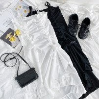 Dress Summer 2021 White, black Average size singleton  Sleeveless commute other Loose waist Solid color zipper A-line skirt other Others 18-24 years old Type A Other / other More than 95% other cotton