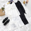 Dress Summer 2021 White, black S, M Miniskirt singleton  Long sleeves commute Solid color A-line skirt routine 18-24 years old Type A Korean version 91% (inclusive) - 95% (inclusive) polyester fiber