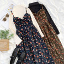 Dress Winter 2020 Black half high collar, apricot half high collar, brown floral skirt, ink blue floral skirt Average size Two piece set Sleeveless Sweet other Elastic waist Broken flowers zipper A-line skirt other camisole 18-24 years old Type A Other / other 91% (inclusive) - 95% (inclusive)