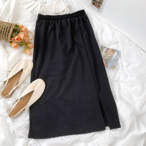 skirt Summer 2021 Average size black Mid length dress commute Natural waist A-line skirt 18-24 years old 51% (inclusive) - 70% (inclusive) other cotton Korean version