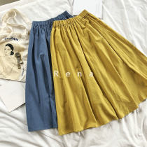 skirt Summer of 2018 Average size Yellow blue Versatile High waist other Solid color Type A 18-24 years old Other / other cotton