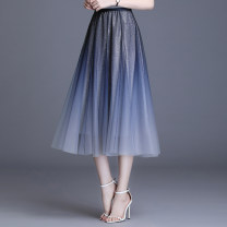 skirt Spring 2021 1/XS,2/S,3/M,4/L,5/XL Mid length dress gorgeous High waist A-line skirt Solid color Type A More than 95% other Brother amashsin polyester fiber