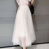 skirt Summer 2020 XS / 1 [purchased freight insurance], S / 2 [seven days return and exchange], M / 3 [return and exchange without worry], L / 4 [quality assurance], XL / 5 [high price ratio] White, black, pink longuette Versatile High waist Pleated skirt Solid color Type A 30-34 years old Chiffon