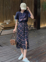 Fashion suit Summer 2021 S,M,L,XL 658 pink t-shirt , 658 Navy T-shirt , 658 black and white plaid skirt , 658 Tibetan plaid skirt , 658 pink t-shirt + Black and white plaid skirt , 658 Navy T-shirt + Navy Plaid Skirt 31% (inclusive) - 50% (inclusive)