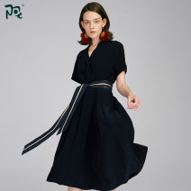 Dress Spring 2020 dark blue S M L longuette singleton  Short sleeve commute V-neck middle-waisted Solid color Socket A-line skirt routine 30-34 years old Type A A-You fashion / Ayu Frenulum A201W18391 71% (inclusive) - 80% (inclusive) Cellulose acetate Acetate (acetate) 72.9% polyester 27.1%