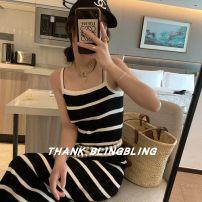 Dress Summer 2021 Black, blue Average size longuette singleton  Sleeveless High waist stripe camisole